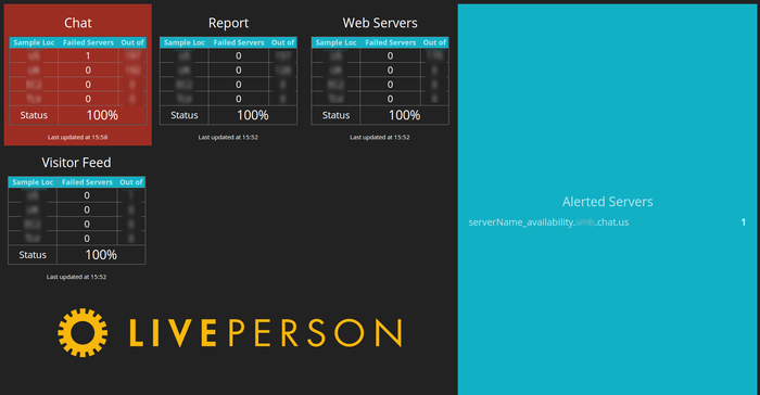 LiverPerson's screen demo in blocks of red, black, and teal from left to right and the name LivePerson in yellow.