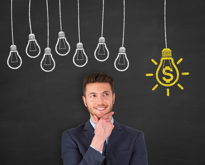 Man with hand on chin in front of chalkboard drawing of light bulbs with one light bulb with dollar symbol on it