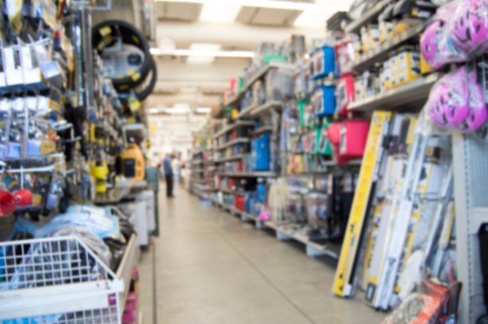 Aisle of an auto parts store.