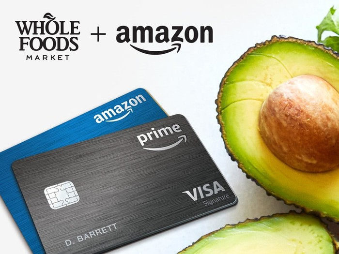 Amazon's co-branded credit cards next to a split avocado.