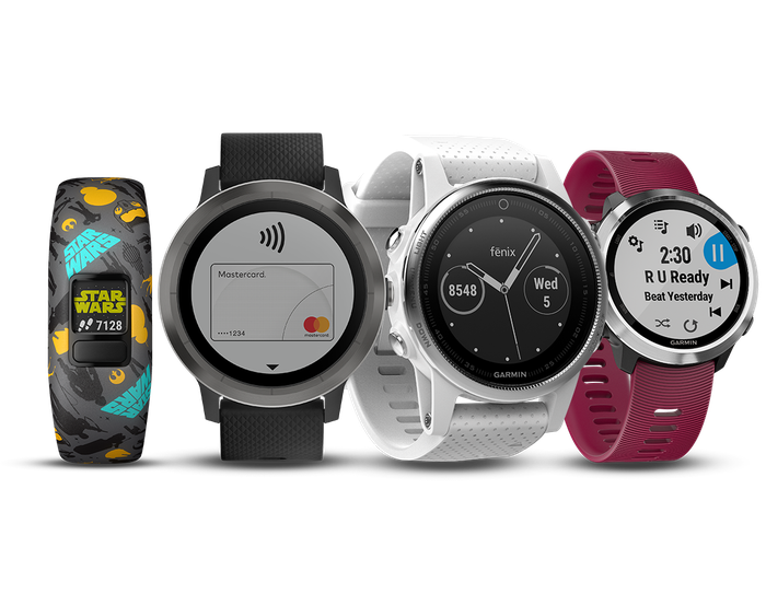 Four Garmin-branded smartwatches and fitness bands.