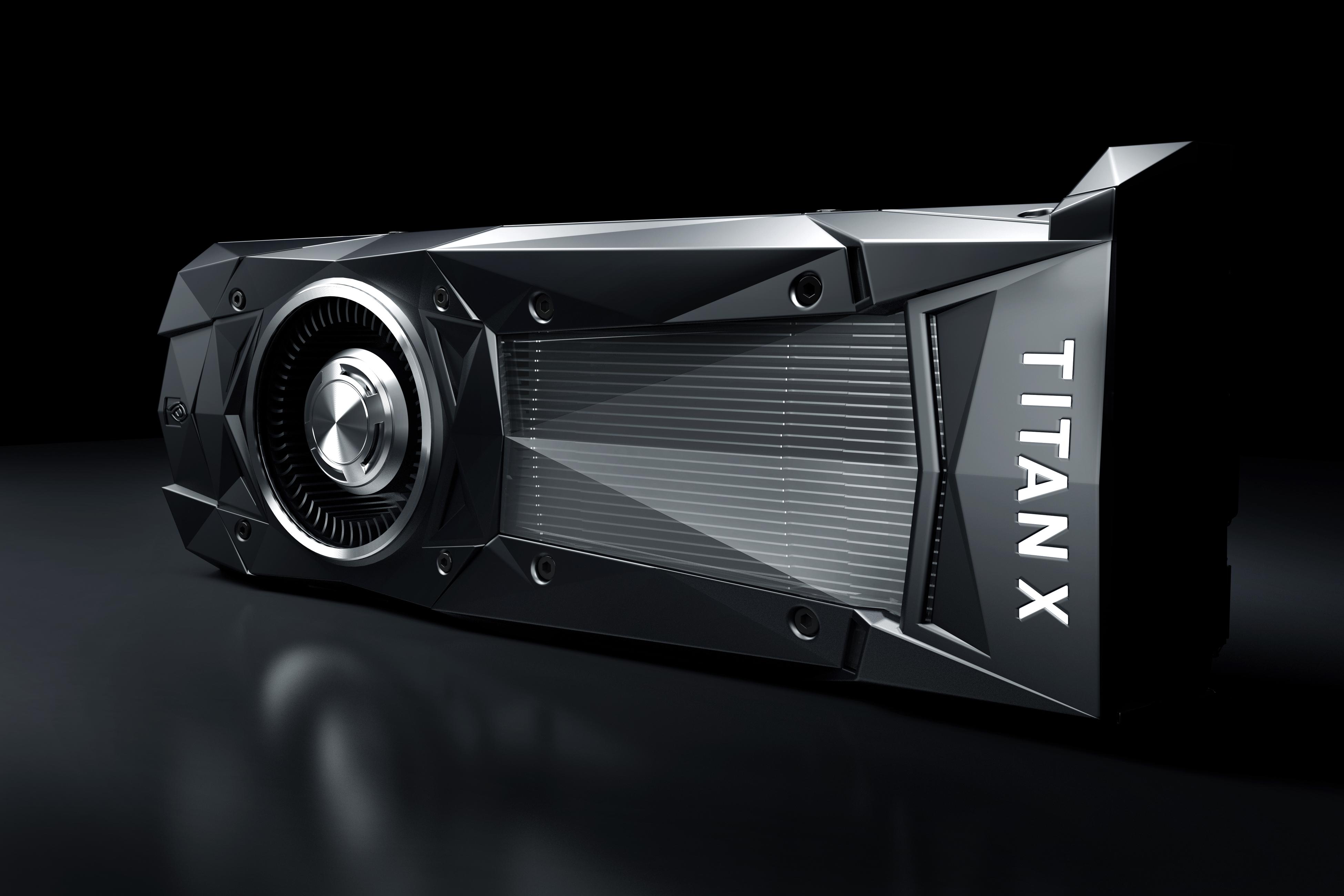A Titan X graphics card against a black backdrop.