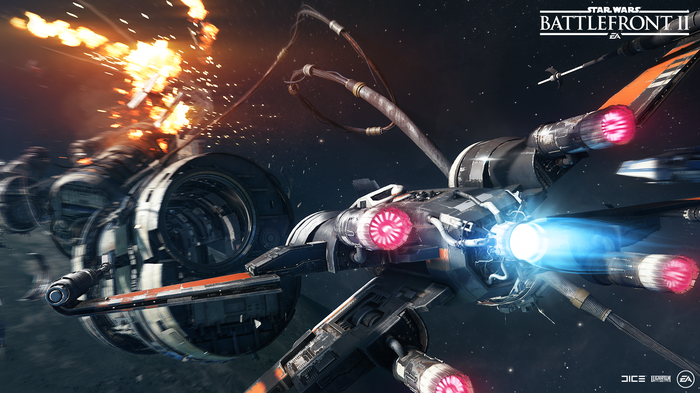 Screenshot of Electronic Arts' Star Wars Battlefront 2 video game depicting a battle in space.