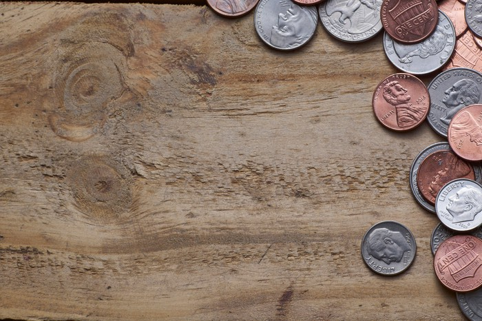 U.S. coins on a table.