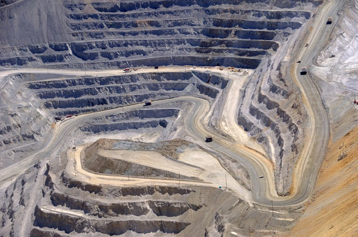A wide-angle view of a working open pit mine.
