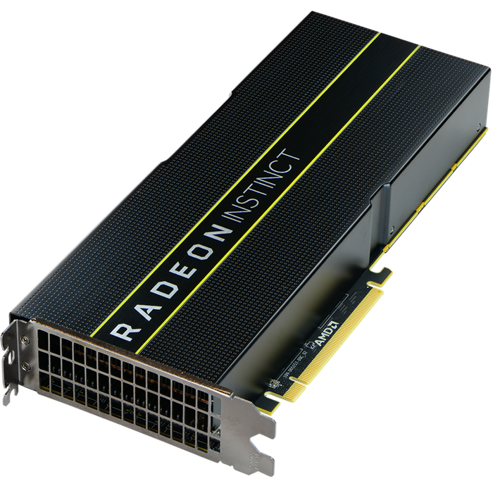 A Radeon Instinct graphics processing unit (GPU).