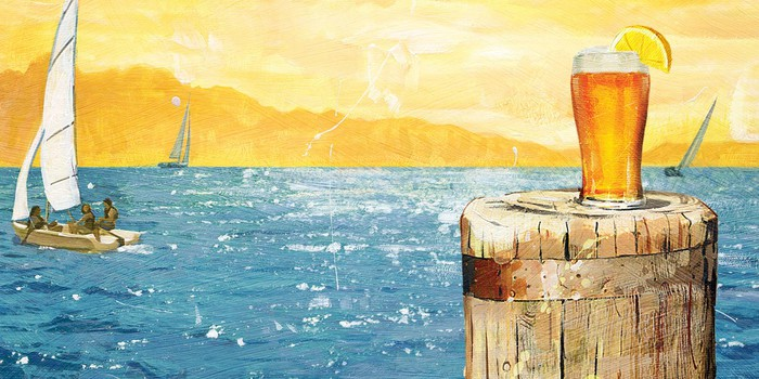 Impressionist-style picture of sailboats at sea near sunset with a glass of beer on a pier post.