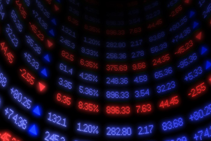 Curved wall display showing stock quotes in blue and red.