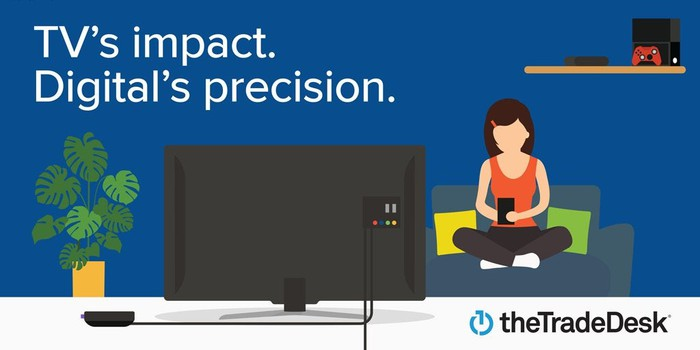 A cartoon ad promoting TV's impact with The Trade Desk's digital precision, with a woman seated in yoga pose on a couch in front of a TV.