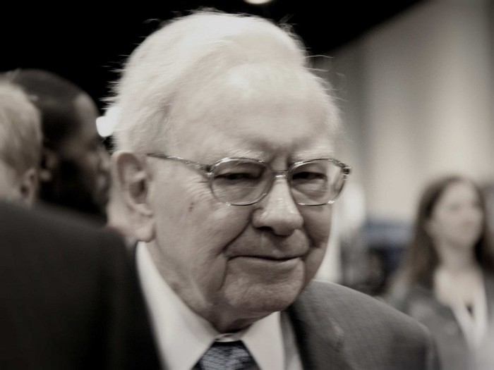 Warren Buffett at an annual meeting for Berkshire shareholders.