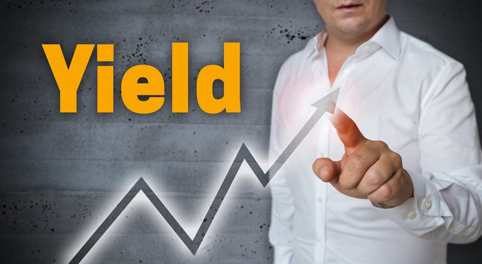 The word yield written above an upward sloping chart while a man points to the arrow.