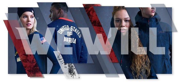 Under Armour athletes wearing United States of America Olympic Under Armour gear with the phrase We Will across the image.