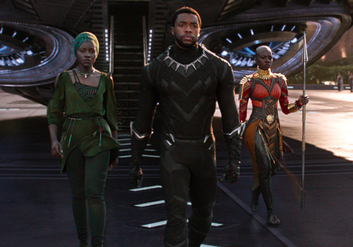 Chadwick Boseman pictured as superhero Black Panther in a still image from the Disney movie