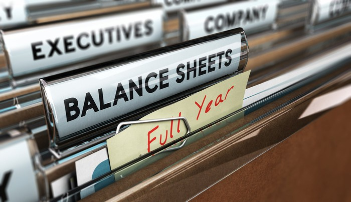 Folders in a filing cabinet, marked with labels such as Full Year, Balance Sheet, Company, and Executives.