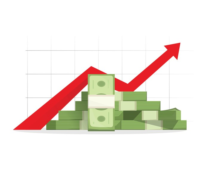 A drawing of a pile of cash underneath a red chart arrow going up.