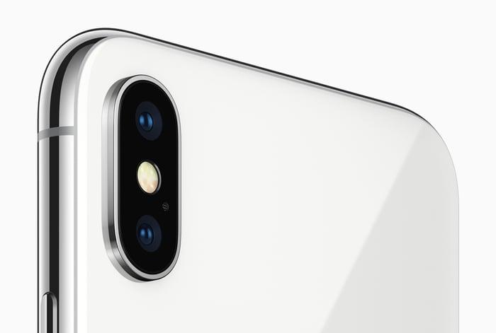 The iPhone X rear-facing camera.
