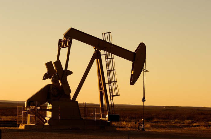 An oil pump in Texas at twilight.