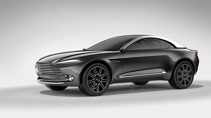 The Aston Martin DBX Concept, a gray SUV with a low, coupe-like roofline.