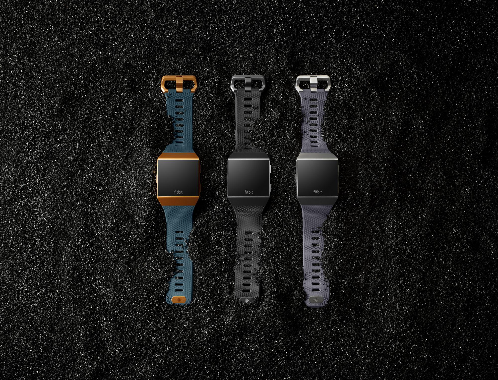 Three Fitbit Ionics on gravel
