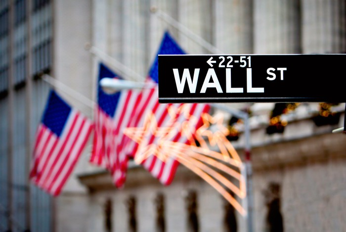 Close-up of the Wall St. street sign, with American flags in the background