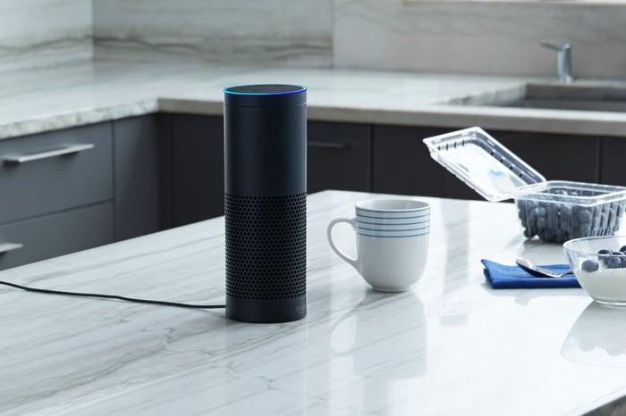 An Amazon Echo in a kitchen