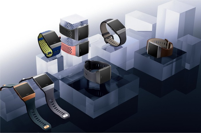 A digital rendering of different styles of Fitbit's Ionic smartwatch.
