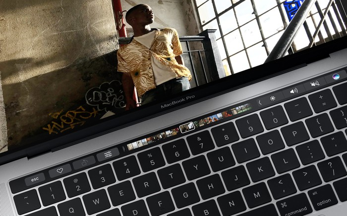 Apple's MacBook Pro playing a video.