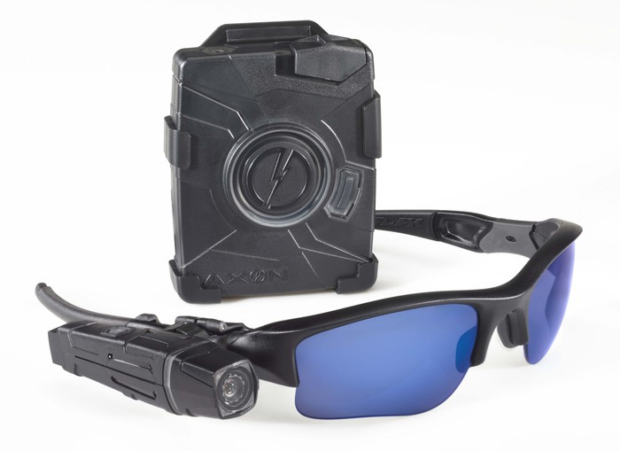 A body camera and a pair of glasses with an attached camera