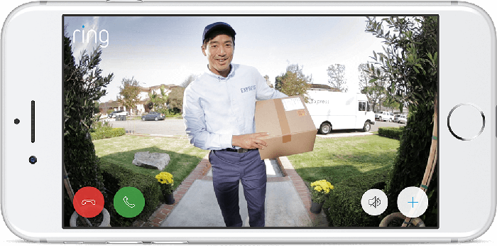 A smartphone screen displaying the Ring app video feed as a person delivers a package.