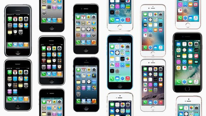 Apple's iPhones in a mosaic pattern.