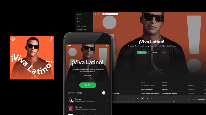 Screenshots of Spotify's Viva Latino playlist on desktop and mobile.