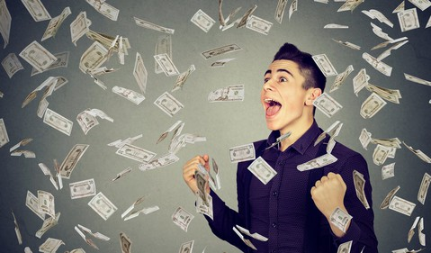 Getty Shower of Money with Happy Man