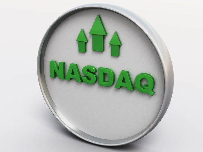 Nasdaq printed in green letters with three upward-pointing green arrows above it
