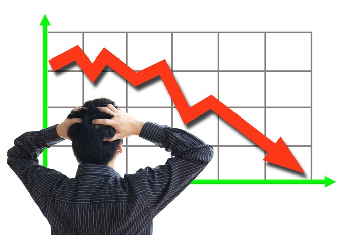 A man, with his hands on his head, looking at downward-trending chart.