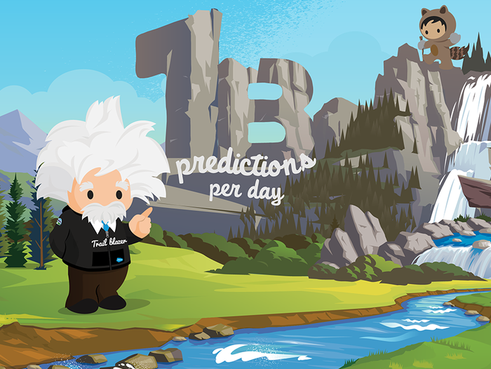 A cartoon of Salesforce's Einstein AI standing on a green landscape next to a body of water and pointing to the words 1 B predictions per day carved out of rock behind him