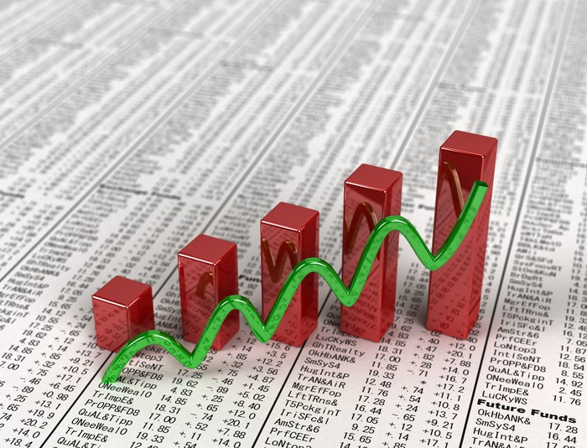 A rising bar chart lying atop a financial newspaper.