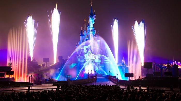 Fireworks at Disneyland Paris at night.