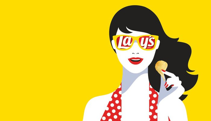 Illustration of young woman holding Lay's chip in her hand, against a yellow background, with the trademark Lay's reflected in her sunglasses.
