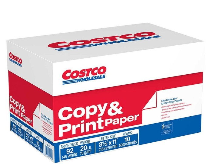 Box of copy and print paper with Costco brand.