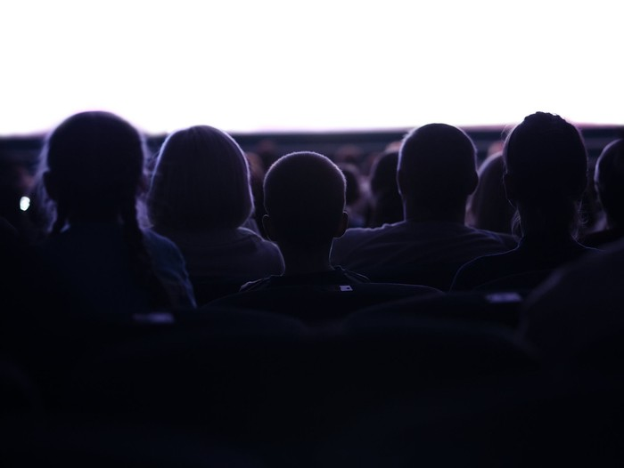 People watching a movie at a theater.