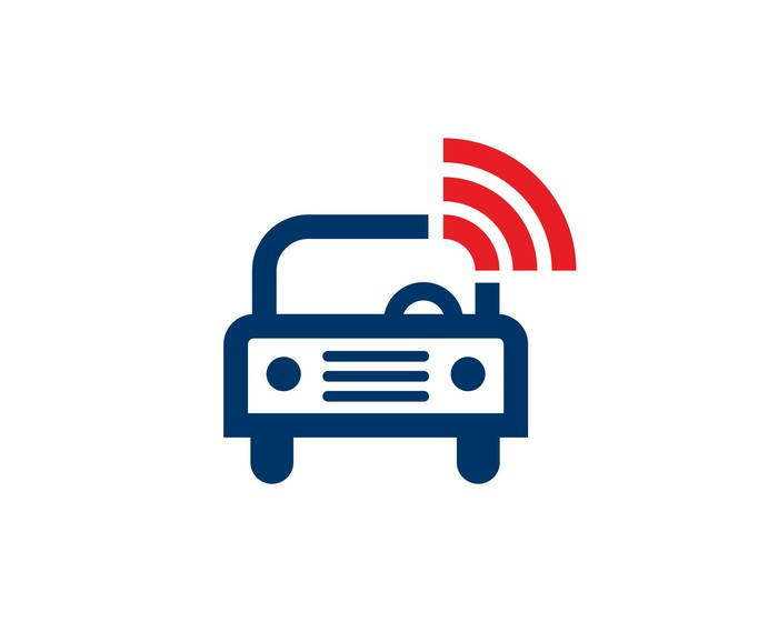 An illustrated car icon with a wireless logo.
