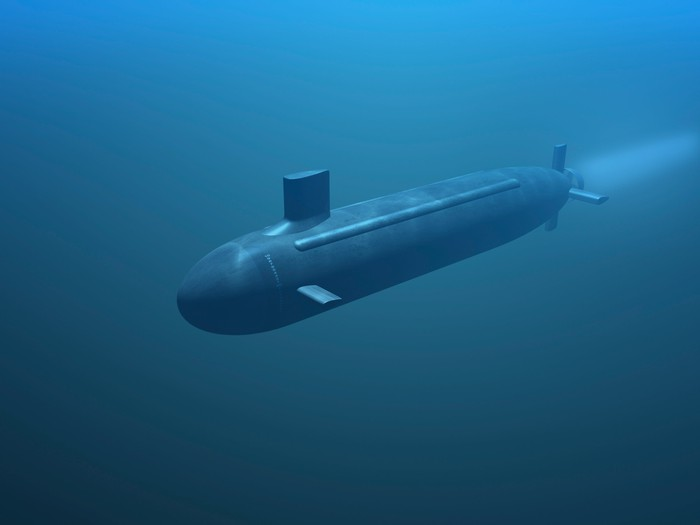A submarine in motion under water.