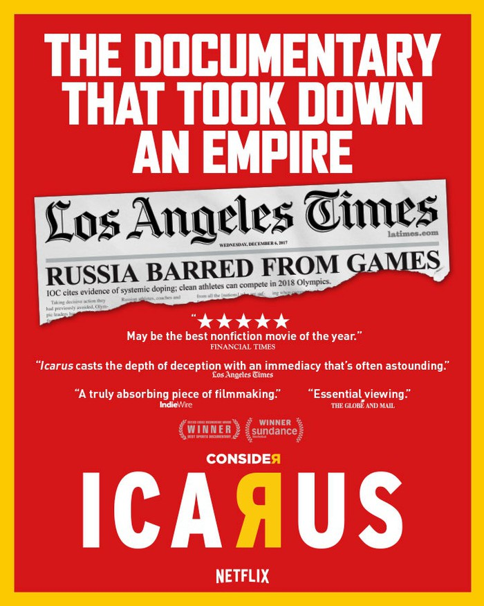 "An ad poster for the Academy Award-winning ""Icarus"""