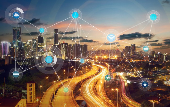 """A graphical depiction of a connected """"smart city""""."""