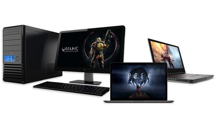Assortment of gaming PCs outfitted with Radeon RX 500 GPU