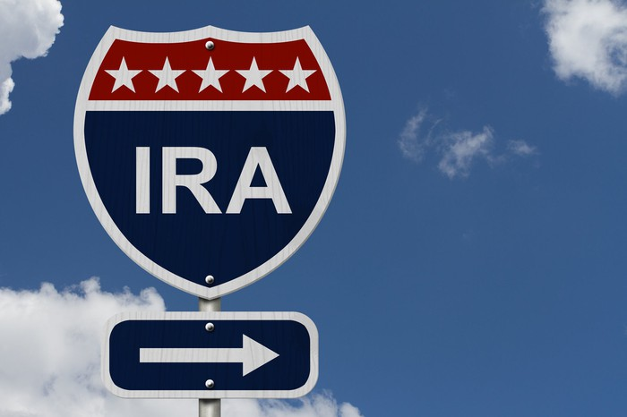 Road sign in blue, red, and white with IRA on it, under a blue sky with a few clouds.