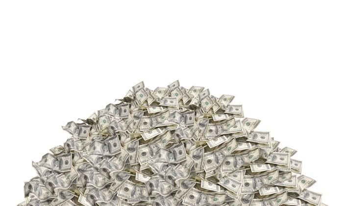 A big pile of dollar bills