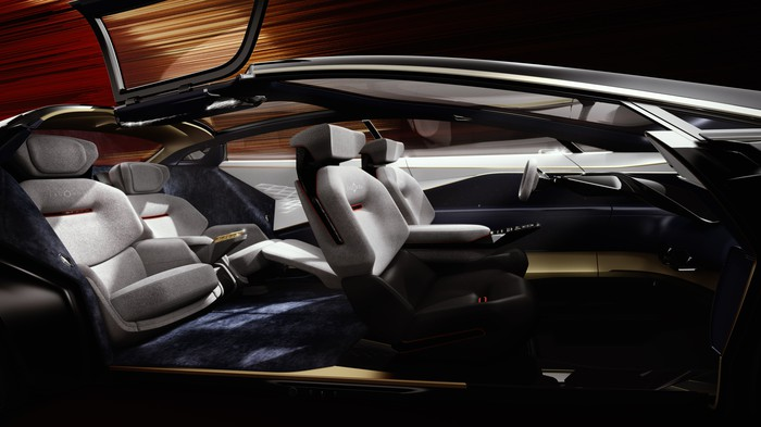 The Lagonda Vision Concept's interior, with futuristic touchscreen control surfaces.