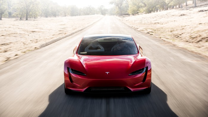 Front view of new Tesla Roadster