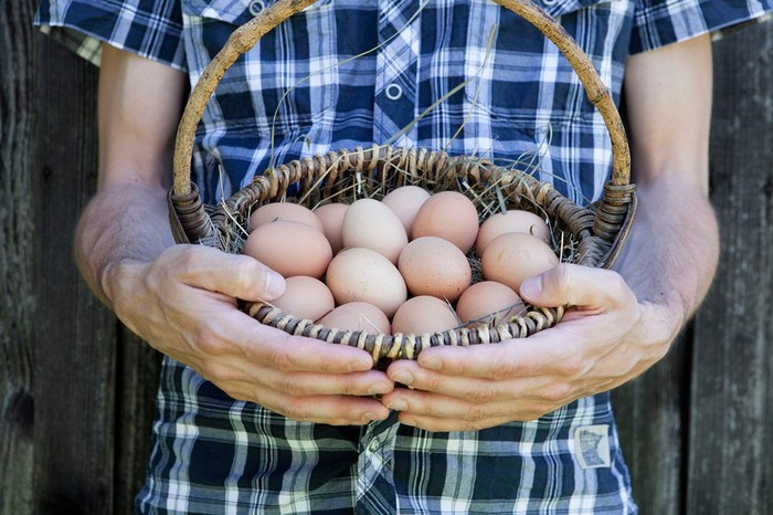 A man holding a basket of eggs.